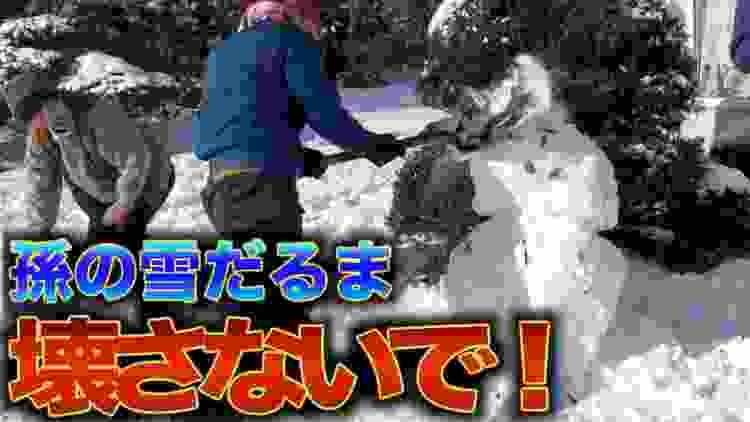 【おじいちゃんブチギレ】子供の雪だるまを破壊する悪徳業者